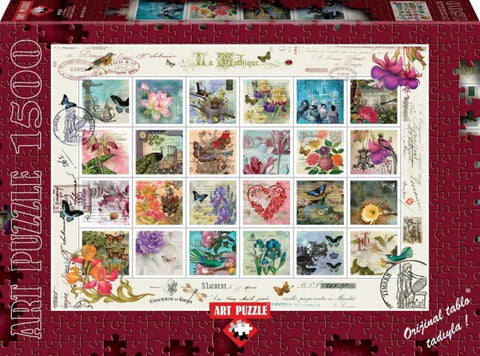 Stamp Collage 1500 Piece Puzzle