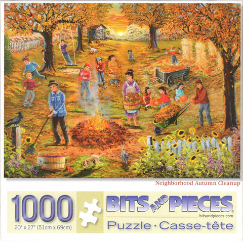 Neighborhood Autumn Cleanup 1000 Piece Puzzle