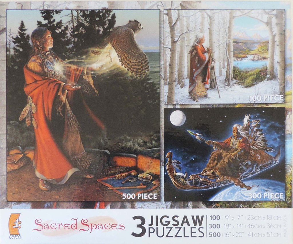3 In 1 Sacred Spaces: Flight of the Messenger 500, Shaman's Last Journey 300, Portal 100 Piece Puzzle
