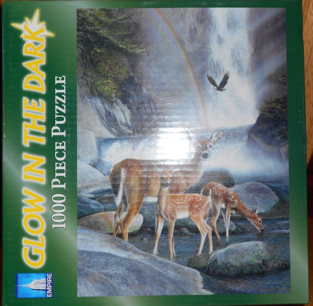 Deer Family in a Creek - Somewhere Over The Rainbow 1000 Piece Puzzle