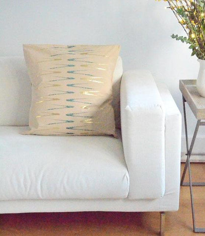 Evergreen Abstract Beige Print Cushion Cover