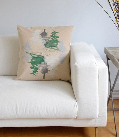 Evergreen Beige Print Cushion Cover