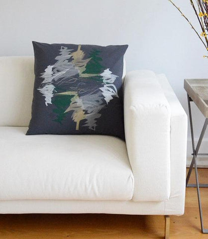 Evergreen Steel Blue Print Cushion Cover