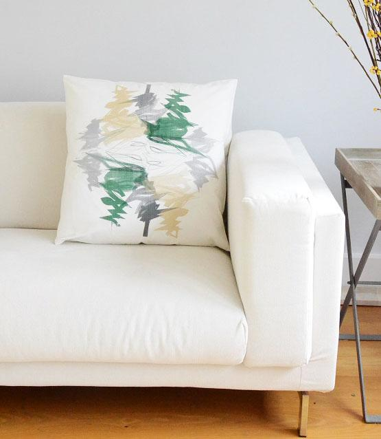 Evergreen Ivory Print Cushion Cover