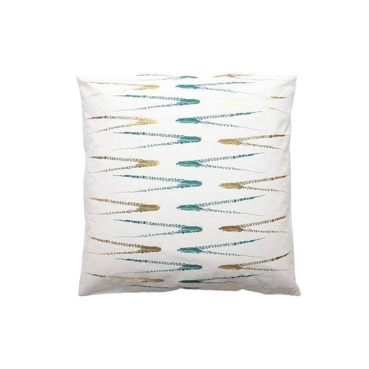 Evergreen Abstract Ivory Green and Gold Cushion Covers