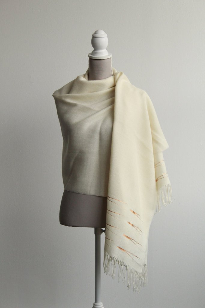 Baby Alpaca Evergreen Shawl (Rose gold)