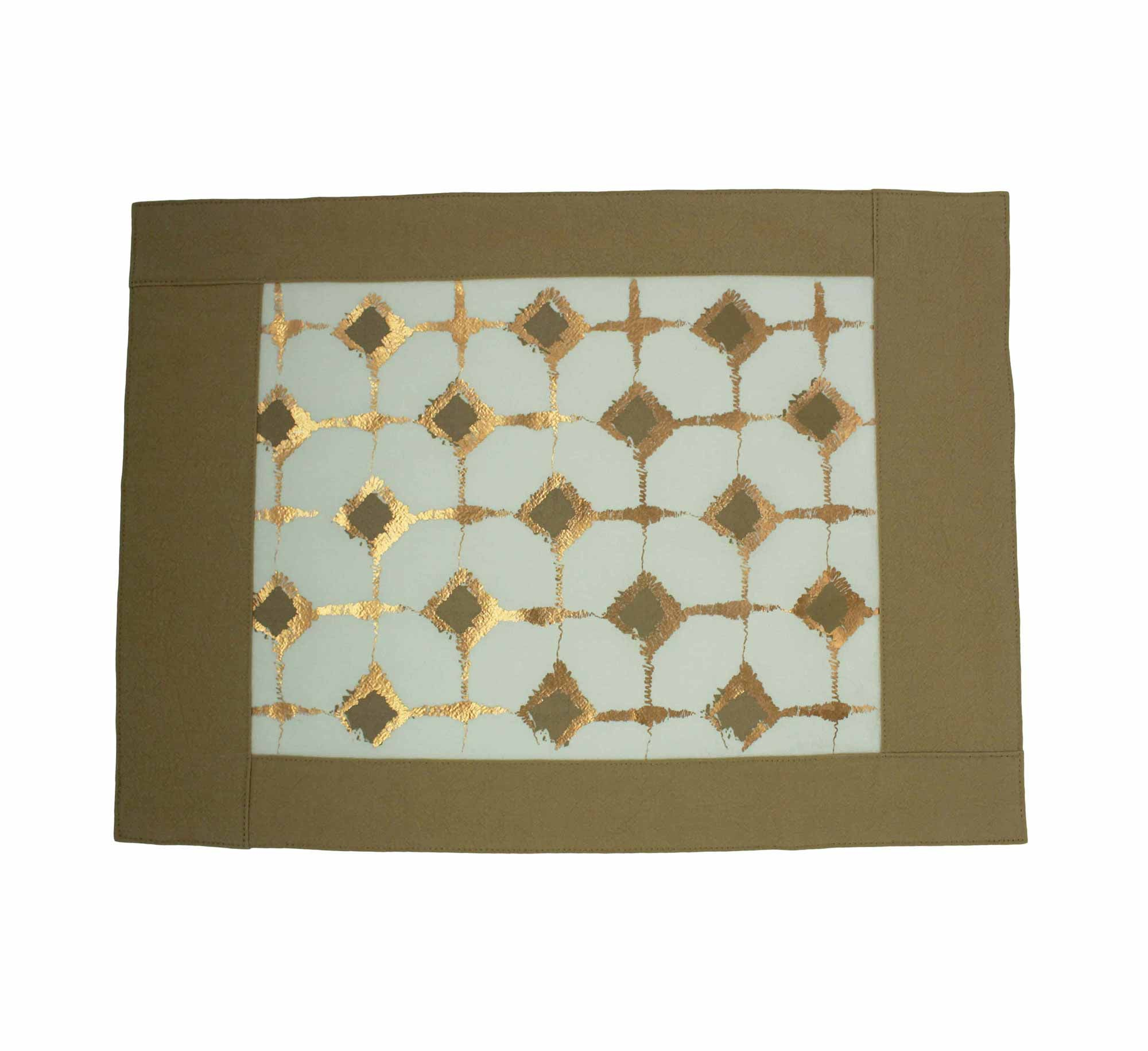 Signature Block Print Placemat Maize & Ivory