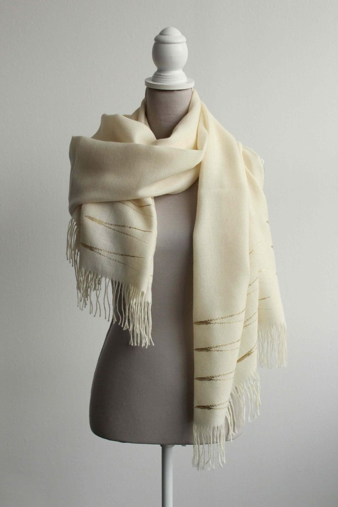 Baby Alpaca Evergreen Shawl (Yellow gold)