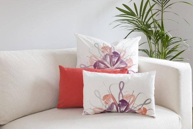 Ostrich Feather Print Ivory Cushion Covers