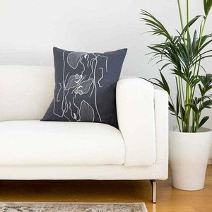 Embroidered Steel Blue Bougainvillea Cushion Covers