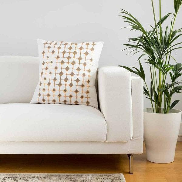 Signature Block Print Ivory Cushion Covers
