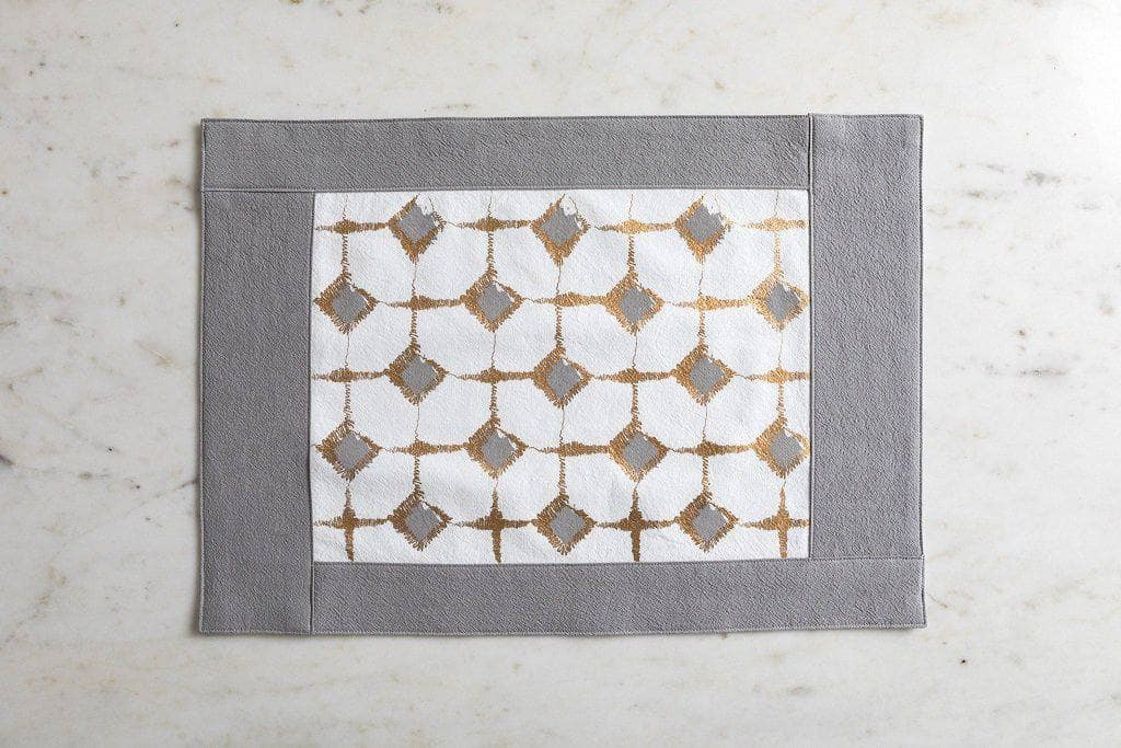 Signature Block Print Placemat Grey & Ivory