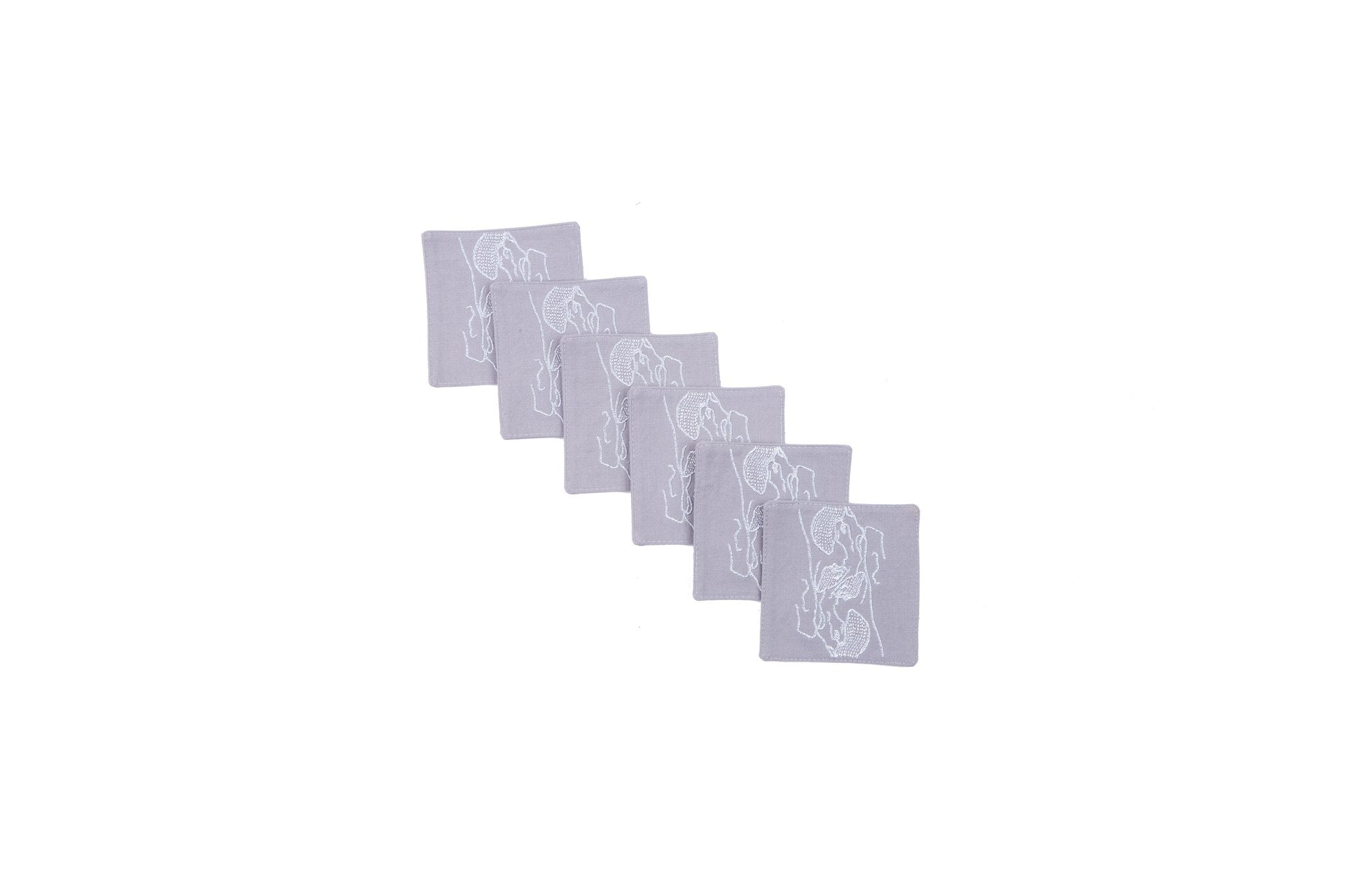 Coasters - Embroidered Coasters Grey