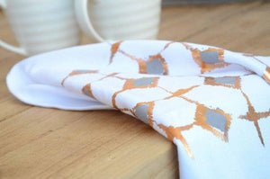 Signature Block Print Grey Tea Towel