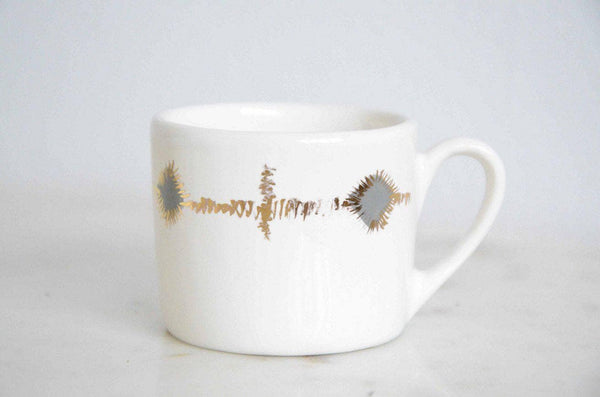Signature Grey and Gold Print Espresso Cup