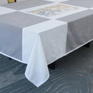 Tablecloth in Grey & Ivory with Bougainvillea Print