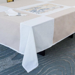 Tablecloth in Beige & Ivory with Bougainvillea Print