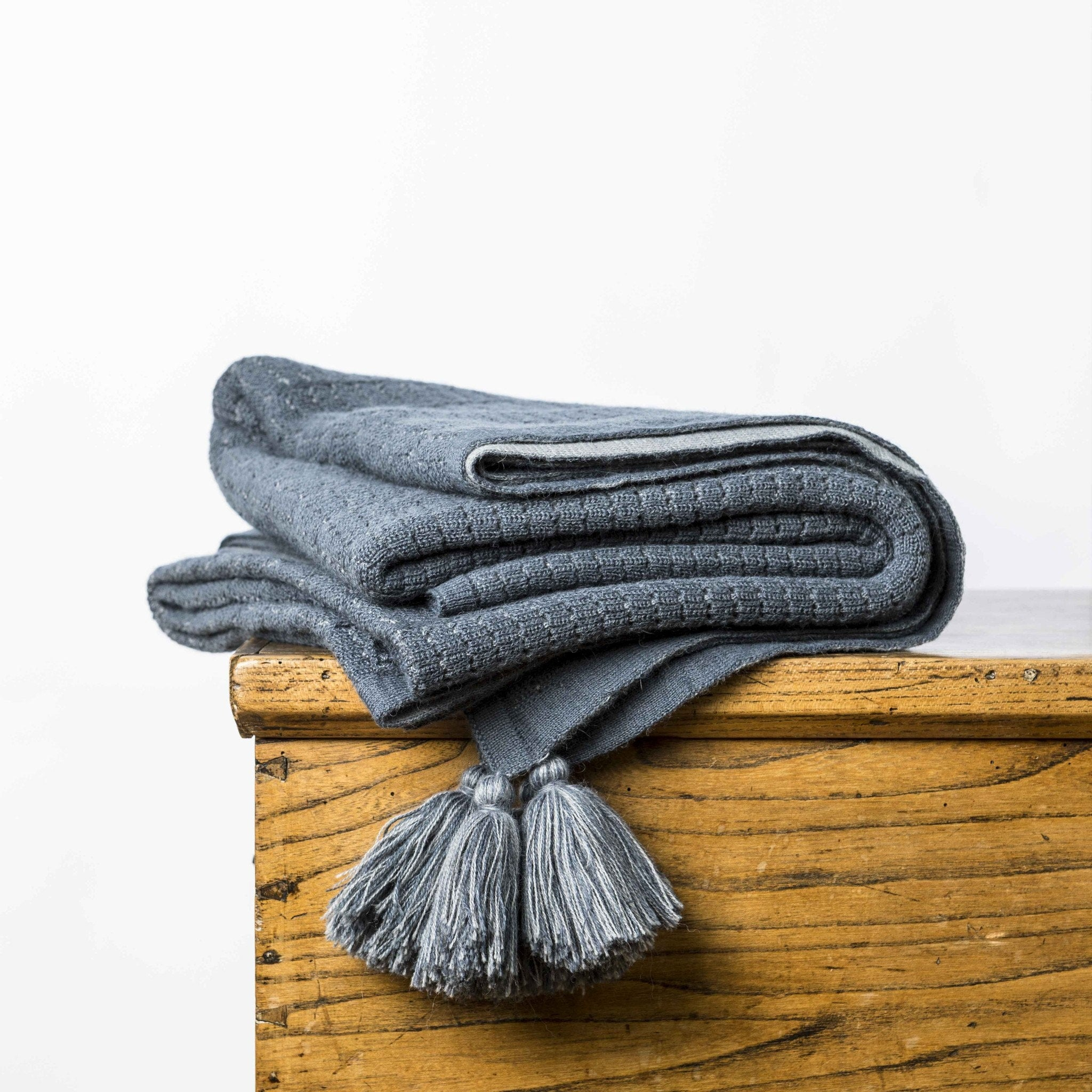 Throws - Chelsea Throw Steel Blue & Grey