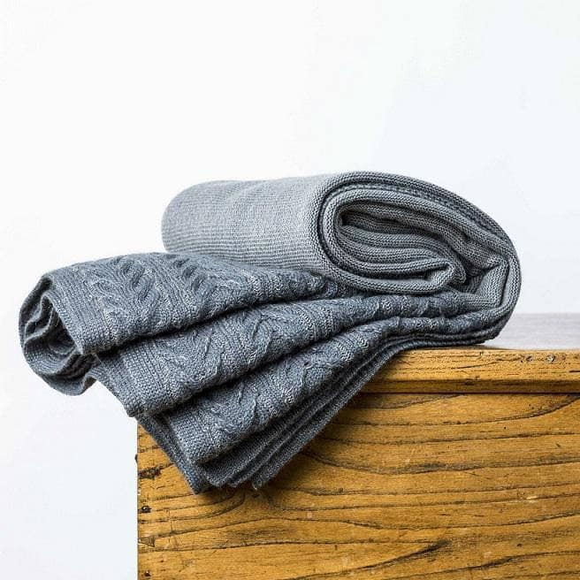 Kensington Throw Steel Blue & Grey
