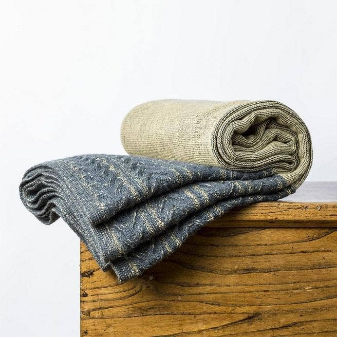 Kensington Throw Steel Blue & Maize