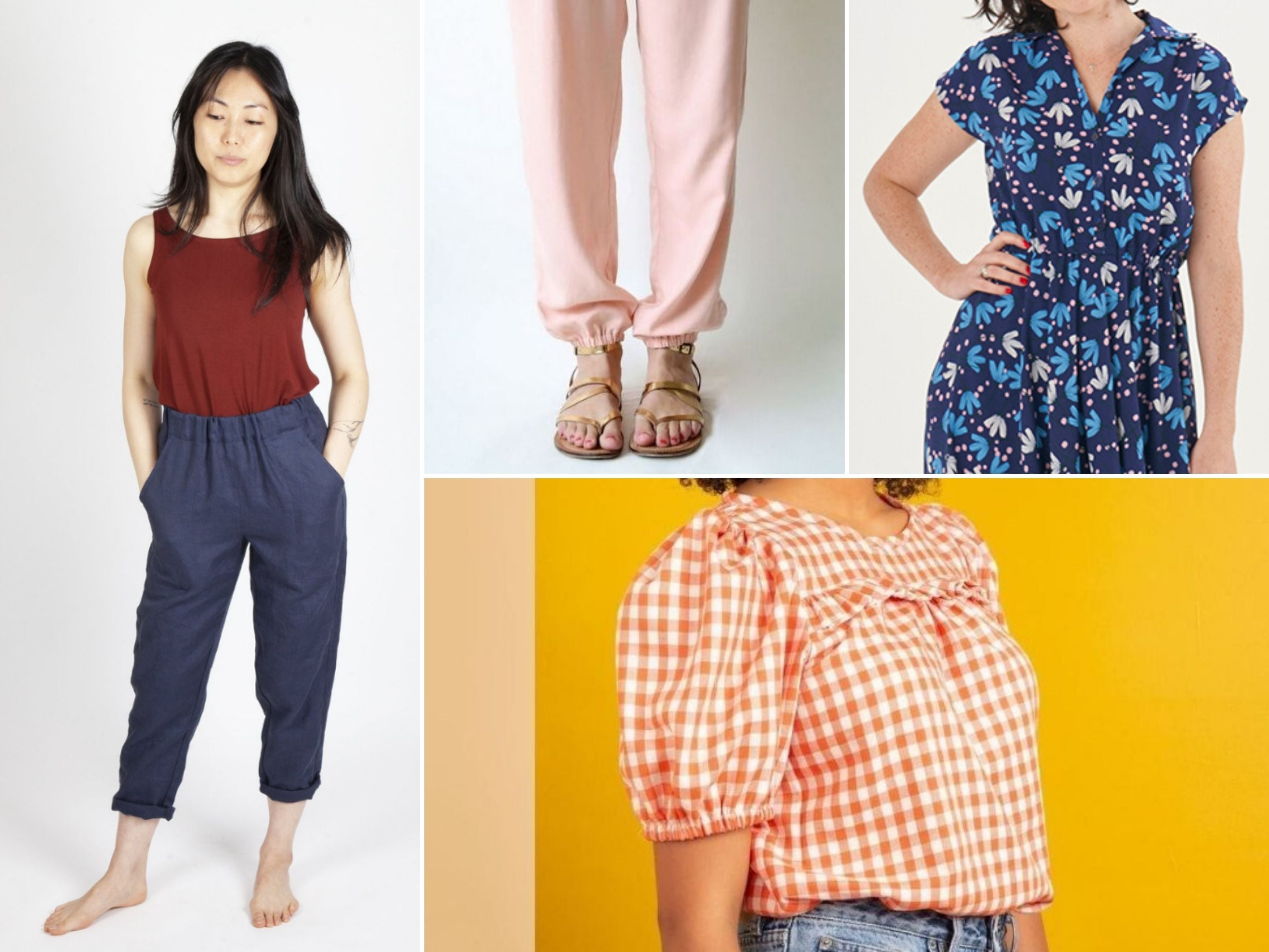Various ways to use elastic in handmade garments—suggested patterns Sew House Seven Free Range Slacks, Made by Rae Luna Pants, Sew Over It Penny Dress, and Friday Pattern Co. Sagebrush Top