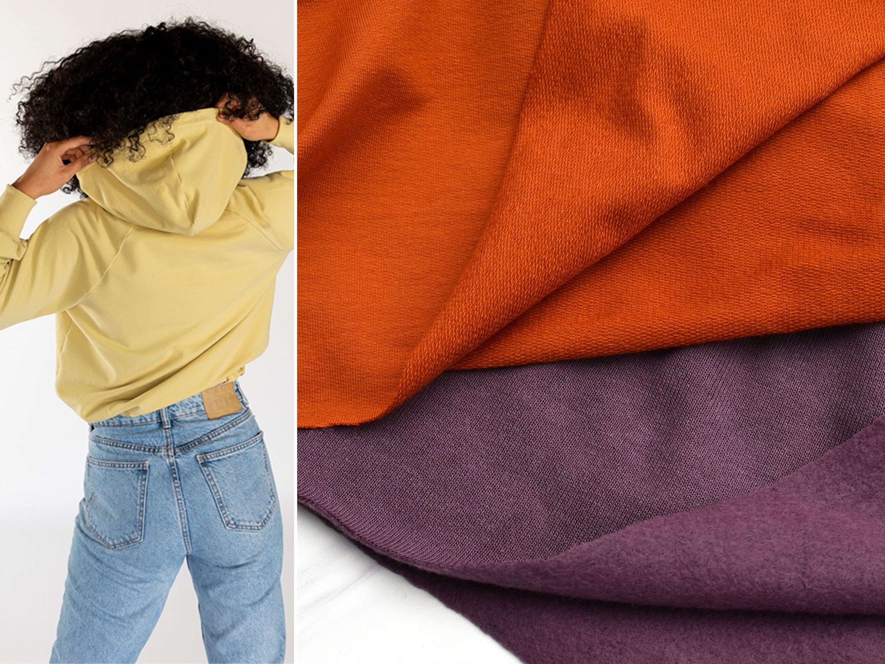 A close up look at a French terry and sweatshirt fleece fabrics and a suggested pattern, the Chalk & Notch Page Hoodie