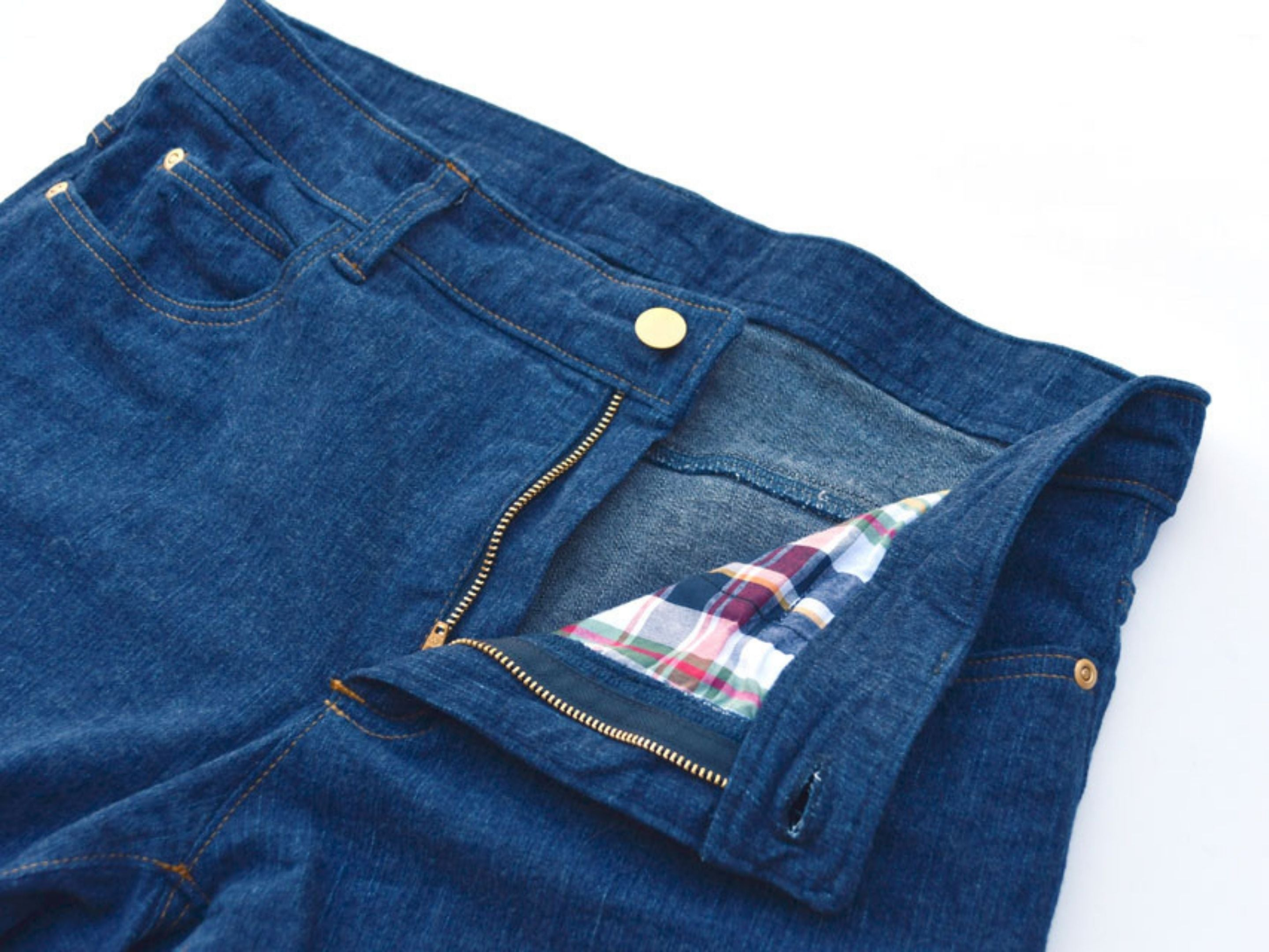 Completed Handmade Jeans with Topstitching and Hardware