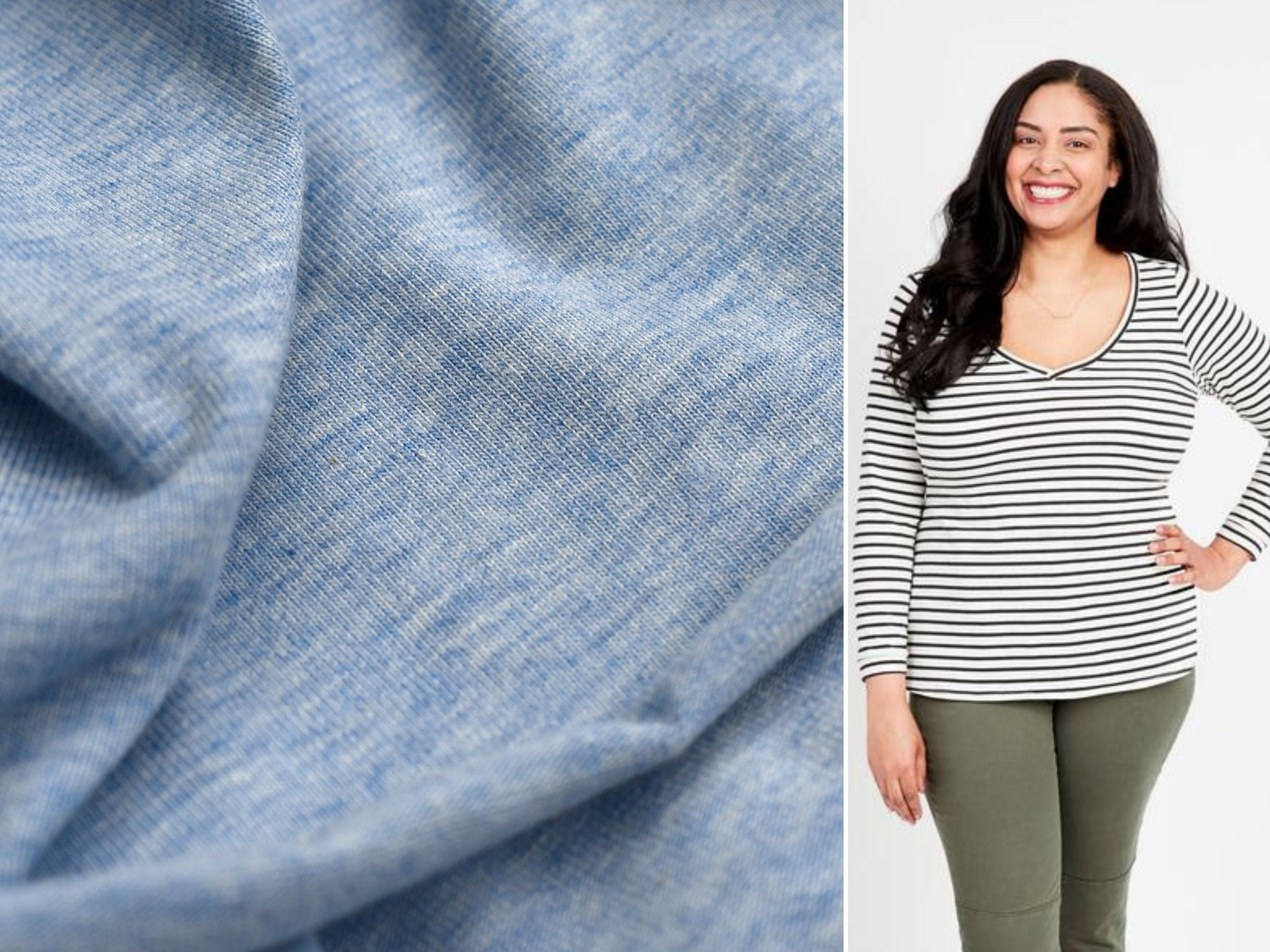 A close up look at a jersey knit fabric and a suggested pattern, the Cashmerette Concord Tee