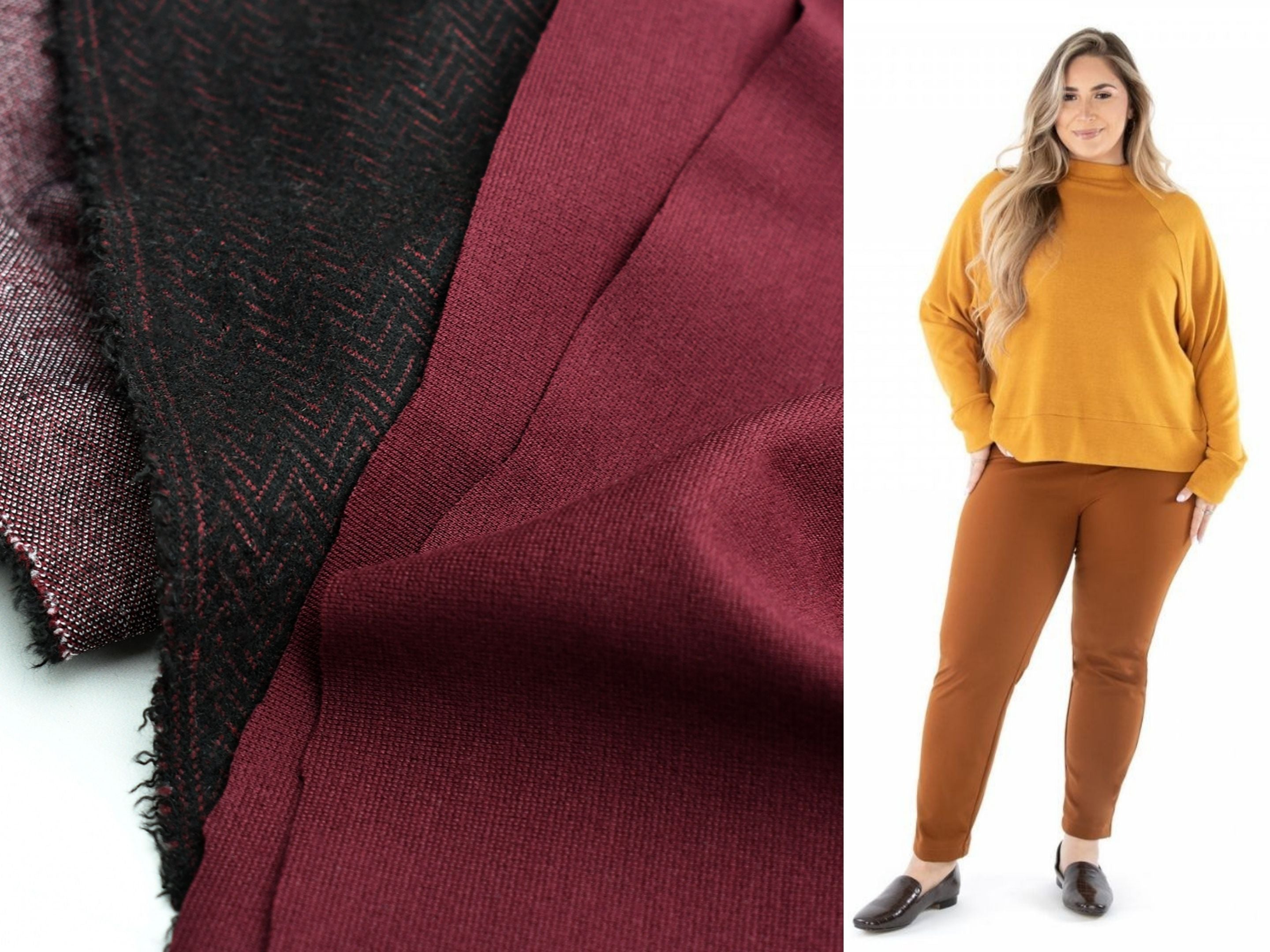 A close up look at two different ponte knit fabrics and a suggested pattern, the Jalie Renee Ponte Pants