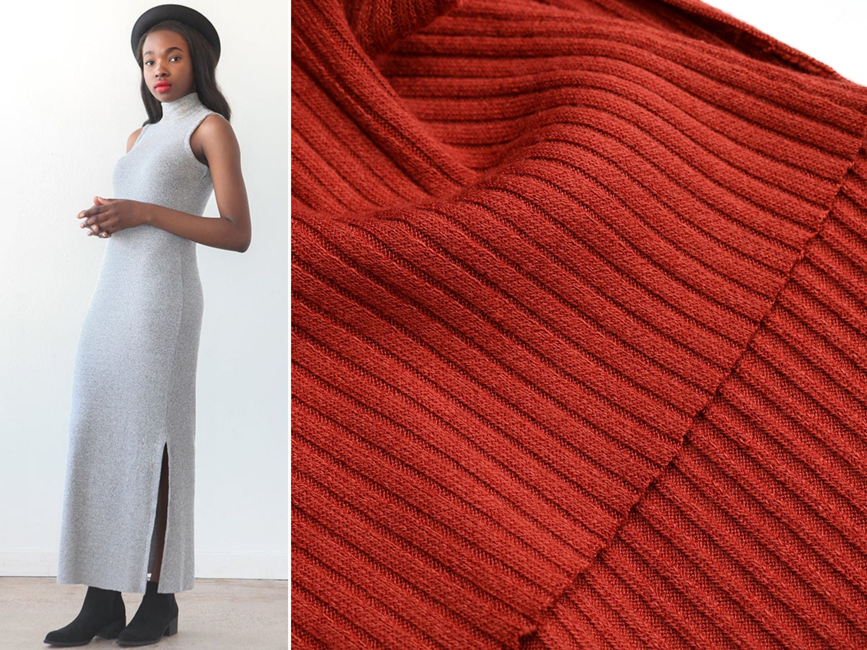 A close up look at a 4x2 rib knit fabric and a suggested pattern, the True Bias Nikko Dress