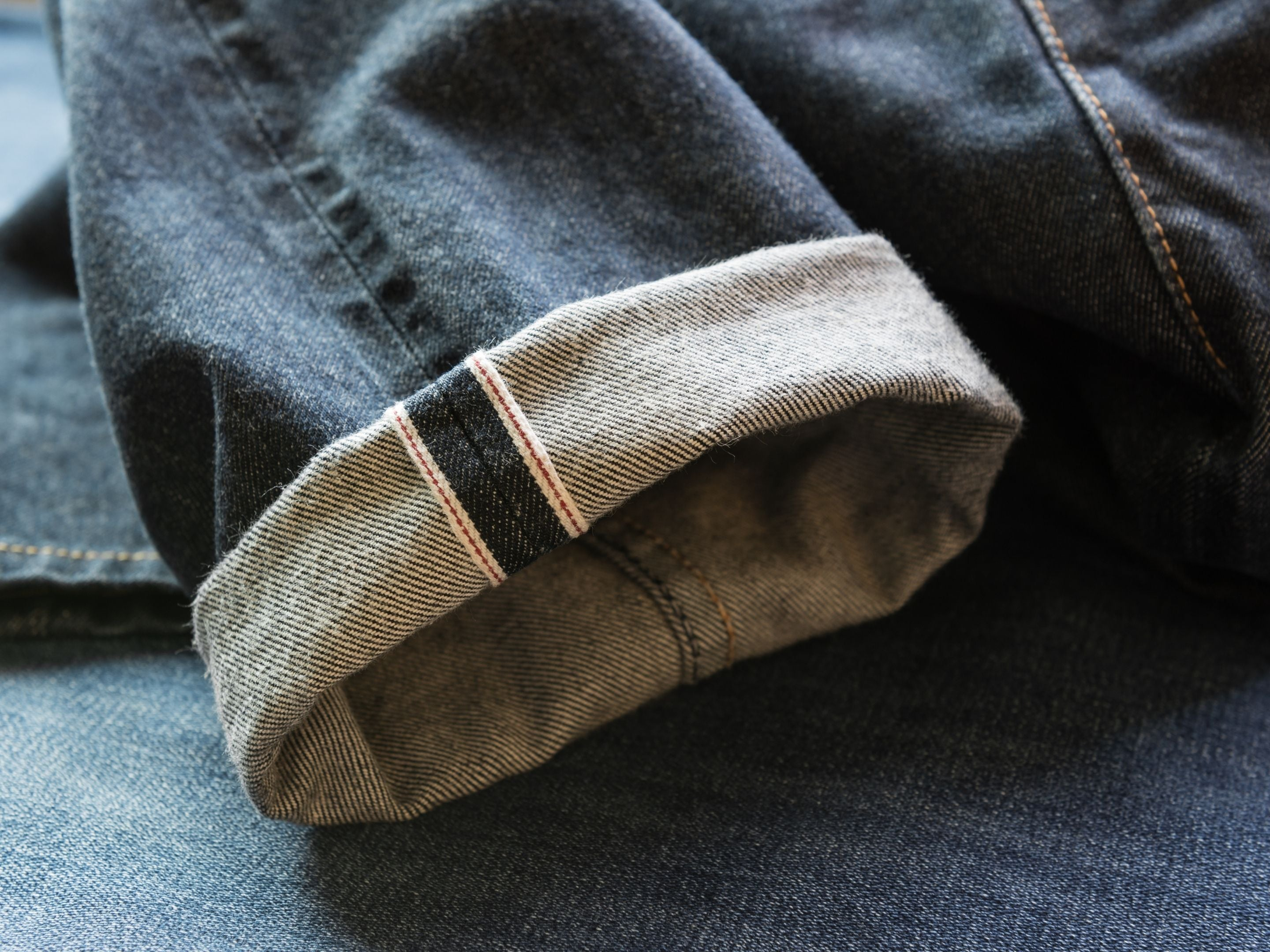 Selvage Denim Jeans with Rolled Cuff Details