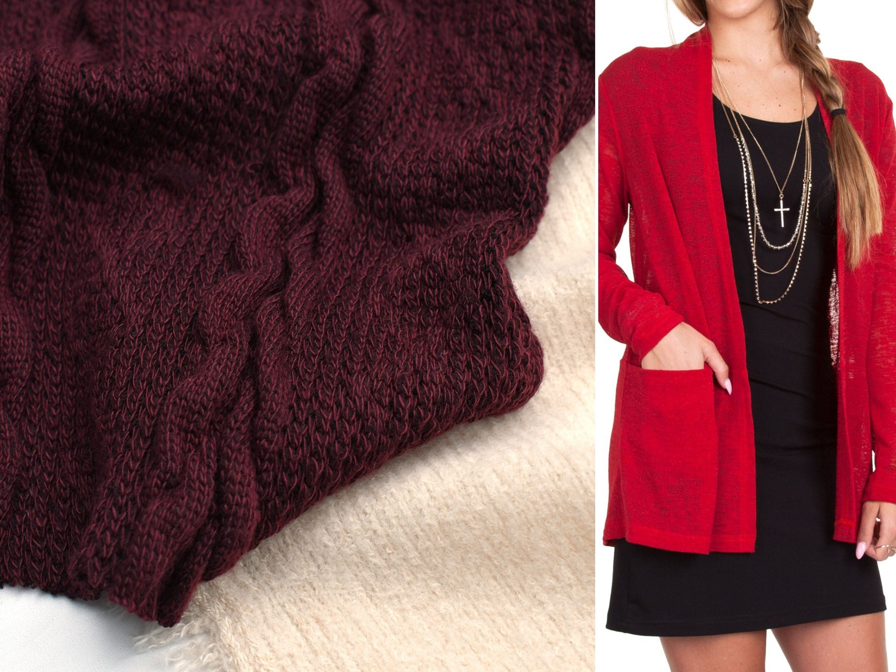 A close up look at two different sweater knit fabrics and a suggested pattern, the Jalie Helene Cardigan
