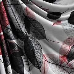 Rayon Jersey Leaf Outlines Grey/Red/Black - Sold Out - Style Maker Fabrics