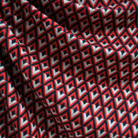 Jersey Knit Diamond Geometric Black/Red