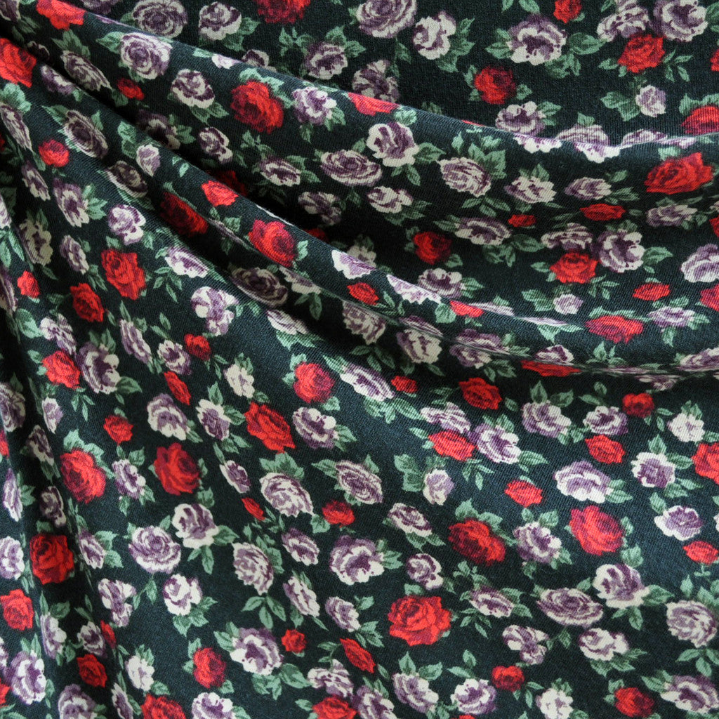 Jersey Knit Rose Floral Black/Red/Purple - Fabric - Style Maker Fabrics