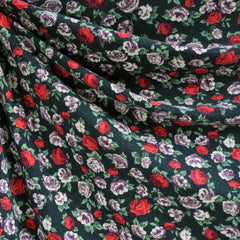 Jersey Knit Rose Floral Black/Red/Purple SY - Sold Out - Style Maker Fabrics