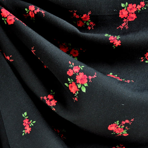 Rayon Challis Floral Bouquet Black/Red