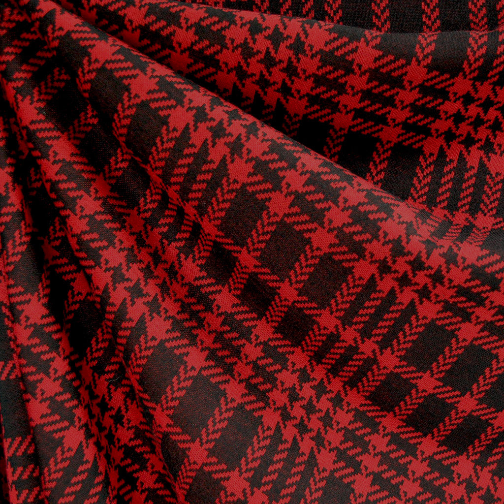 Houndstooth Plaid Double Knit Red/Black - Sold Out - Style Maker Fabrics