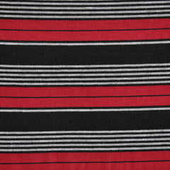 Jersey Knit Stripe Black/Red/Grey - Sold Out - Style Maker Fabrics