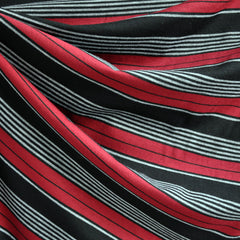 Jersey Knit Stripe Black/Red/Grey - Fabric - Style Maker Fabrics