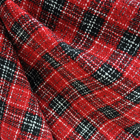Plaid Boucle Red/Black/White SY