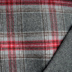 Double-Faced Plaid Wool Coating Charcoal/Red SY - Selvage Yard - Style Maker Fabrics