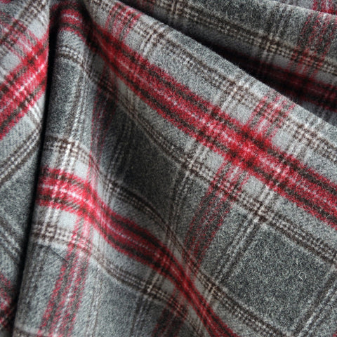 Double-Faced Plaid Wool Coating Charcoal/Red