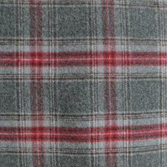 Double-Faced Plaid Wool Coating Charcoal/Red - Fabric - Style Maker Fabrics