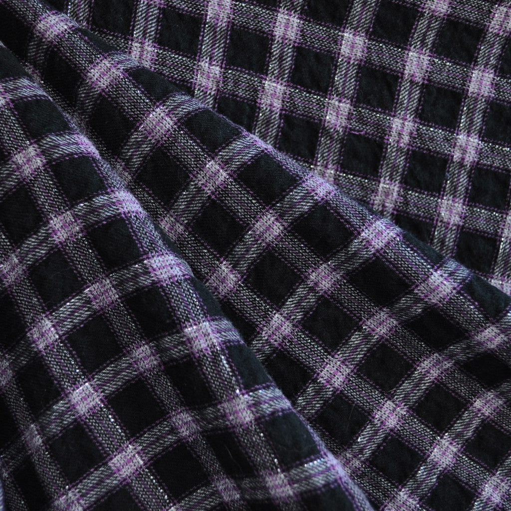 Cotton Plaid Shirting Purple/Black/Grey - Sold Out - Style Maker Fabrics