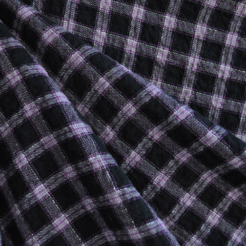 Cotton Plaid Shirting Purple/Black/Grey