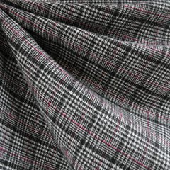 Wool Blend Glen Plaid Black/White/Fuchsia - Fabric - Style Maker Fabrics