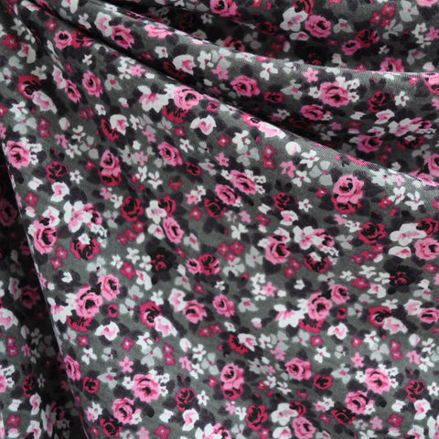 Jersey Knit Rose Floral Grey/Pink