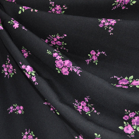 Rayon Challis Floral Bouquet Black/Purple