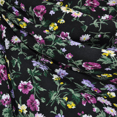 Rayon Challis Floral Black/Plum - Sold Out - Style Maker Fabrics